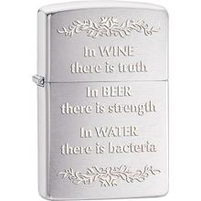 Zippo In Wine There Is Truth, Brushed Chrome Classic