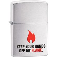 Zippo Keep Your Hands Off, Brushed Chrome Classic