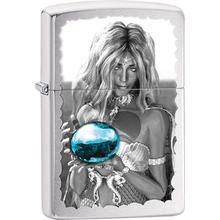 Zippo Mermaid And Orb, Brushed Chrome Classic