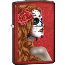 Zippo Day Of Dead Girl, Candy Apple Red Classic
