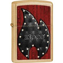 Zippo Leather Flame, Gold Dust Classic