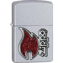 Zippo Red Flame, Satin Chrome Classic