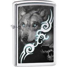 Zippo Wolf With Skull, Polished Classic