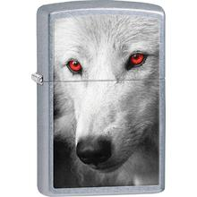 Zippo Wolf With Red Eyes, Street Chrome Classic