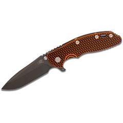 Rick Hinderer Knives XM-18 3.5 inch Flipper, Black DLC S35VN Spanto Blade, Orange/Black G10 Handle - KnifeCenter Exclusive