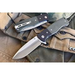 Nemesis Mar Private Reserve MPR-2 Flipper 3.44 inch Satin VG10 Plain Blade, OD Green G10 Handles with Carbon Fiber Bolsters