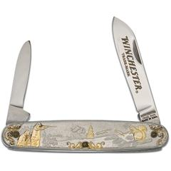 Winchester Model 1890 Year 2000 Limited Edition Pen Knife 3.5 inch Closed, Relief Nickel Silver Handles with 24k Gold Highlights