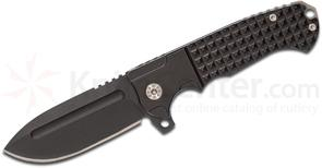 Andre De Villiers Knives Customized Pathfinder Gen 2 Flipper 3.875 inch Black D2 Drop Point Blade and Milled Titanium Handles