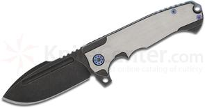 Andre De Villiers Knives Harpoon F17 Flipper 3.875 inch S35VN Black Stonewashed Blade, Two-Tone Titanium Handles, Purple/Blue Hardware