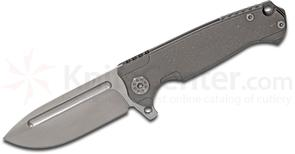 Andre De Villiers Knives Mini Pathfinder Flipper 3.25 inch S35VN Satin Drop Point Blade, Stonewashed Titanium Handles