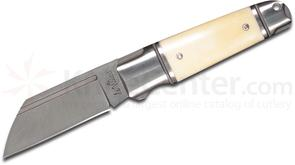 Andre De Villiers Knives Pocket Butcher Slipjoint Folding Knife 3 inch D2 Wharncliffe Blade, Stainless Steel Handles with White Bone Inlays