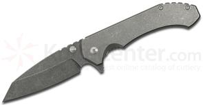 Aegis Knife Works Mid-Tech Hoplite Flipper 3.55 inch CTS-XHP Sheepsfoot Blade, Stonewashed Titanium Handles