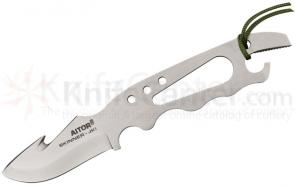 AITOR JKI Skeletal Skinner Fixed 2-5/8 inch Satin Plain Blade with Guthook, Nylon Sheath