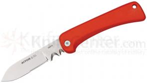 AITOR Electricista Folding 3-1/2 inch Satin Spear Point Blade, Red ABS Handles