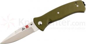 Al Mar MS2KOD Mini SERE 2000 Folding Knife 3 inch VG10 Satin Plain Blade, OD Green G10 Handles