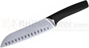 Art and Cook 7 inch Santoku Knife Granton Edge, 18/10 Stainless Steel Blade with Black Handle