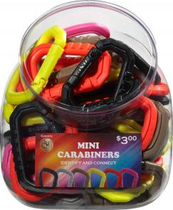 ASP Mini Polymer Carabiner Bin, 50-Pack, Assorted Colors