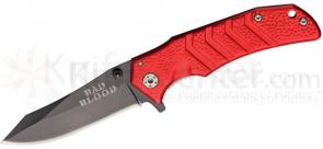 Bad Blood Knives Reverse Tanto Folding 2-3/4 inch 440 Stainless Blade, Red Aluminum Handle