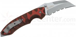 Bad Blood Knives Razorhoof Folding 3-1/8 inch 8Cr14 Hawkbill Blade, Red/Black G10 Handles