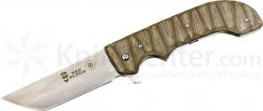 Bad Blood Knives Yokai Folding 4-1/4 inch 8Cr14 Stainless Tanto Blade, Brown G10 Handles
