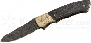 Butch Ball Custom Folding 3.625 inch Reverse Tanto Damascus Blade, Damascus Handles with Mokume Bolsters