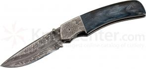 Butch Ball Custom Folding 3.25 inch Drop Point Flame Damascus Blade, Blue Mammoth Ivory Handles