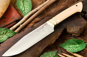 Bark River Knives Vidarr Fixed 6.5 inch A2 Tool Steel Blade, Antique Ivory Micarta Handles, Leather Sheath