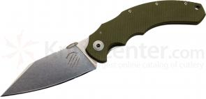 Bastinelli Creations Big Dragotac Frame Lock 4.75 inch Wharncliffe D2 Blade, Milled OD Green G10 Handle