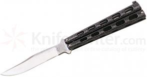 Bear & Son 114 Butterfly Knife 5 inch Silver Vein Steel Handles