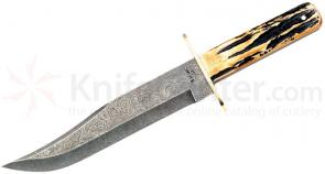 Bear & Son Bowie 9 inch Damascus Blade, Genuine India Stag Bone Handles