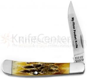 Bear & Son 5154 1/2  inchMy First Pocket Knife inch Little Trapper, 3 inch Genuine India Stag Bone Handles, Gift Tin