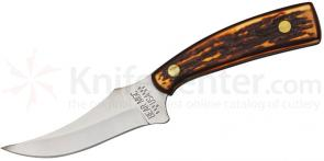 Bear & Son Upswept Palm Skinner Fixed 3-1/8 inch 440 Stainless Blade, Stag Delrin Handle, Leather Sheath