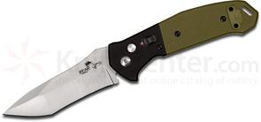 Bear OPS AC-500-B4-P Bold Action V AUTO 3.2 inch Bead Blasted 14C28N Modified Tanto Blade, Green/Black G10 Handles