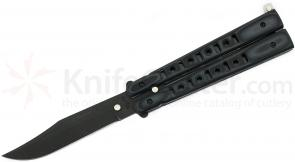 Bear OPS B-300-B4-T Bear Song III Butterfly Knife 4-3/8 inch Black Clip Point Blade, Gray/Black G10 Handles