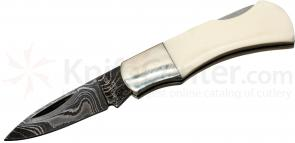 Bear & Son IV40D Damascus Mini Executive Lockback 2-1/4 inch Closed, Mastodon Ivory Handles