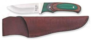Bear & Son Drop Point Skinner 7-7/8 inch Overall, Camo Wood Handles, Leather Sheath