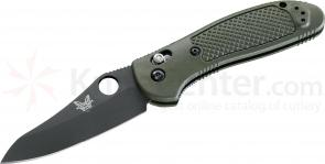Benchmade 550BKHGOD Griptilian 3.45 inch Black Plain Hollow Ground Blade, OD Noryl GTX Handles
