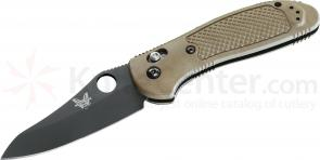 Benchmade 550BKHGSN Griptilian 3.45 inch Black Plain Hollow Ground Blade, Sand Noryl GTX Handles