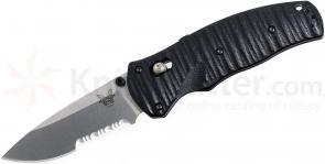 Benchmade 1000001S Volli AXIS-Assisted 3.26 inch S30V Satin Combo Blade, Black G10 Handles