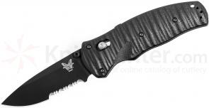 Benchmade 1000001SBK Volli AXIS-Assisted 3.26 inch S30V Black Combo Blade, Black G10 Handles