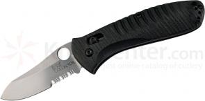 Benchmade Waddell's Bone Collector 3.36 inch D2 Combo Blade, Black G10 Handles