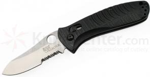 Benchmade Waddell's Bone Collector (Small) AXIS Folder 2.95 inch D2 Combo Blade, Black G10 Handles