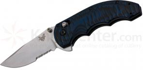Benchmade 300S-1 AXIS Flipper Folding Knife 3.05 inch Satin 154CM Combo Blade, Textured Blue/Black G10 Handles