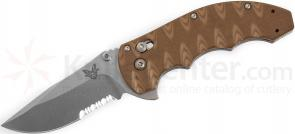 Benchmade 300SSN AXIS Flipper Folding Knife 3.05 inch Satin Combo Blade, Textured Sand/Earth G10 Handles