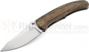 Benchmade Lone Wolf 40003 Trask Folding 3.4 inch N680 Plain Blade, Wood Handles