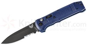 Benchmade 4400SBK-1 Casbah AUTO 3.4 inch Black S30V Drop Point Combo Blade, Blue Textured Grivory Handles