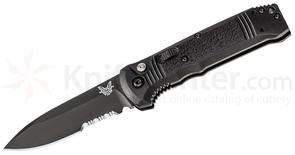 Benchmade 4400SBK Casbah AUTO 3.4 inch Black S30V Drop Point Combo Blade, Black Textured Grivory Handles