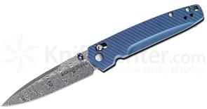 Benchmade Gold Class 485-171 Valet AXIS Folding Knife 2.96 inch Ladder Damasteel Plain Blade, Blue-Violet Anodized Titanium Handles
