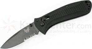 Benchmade 525SBK Mini-Presidio Folding Knife 2.97 inch Black Combo Blade, Aluminum Handles