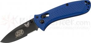 Benchmade 527SBK-USA Shooting Team Mini-Presidio Folding Knife 2.97 inch Black Combo Blade, Blue Noryl GTX Handles